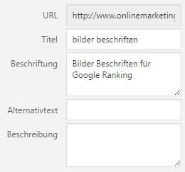 Bilder beschriften für Google Ranging verbessern