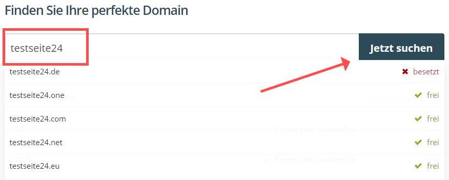 "One.com ""Domain wählen"""