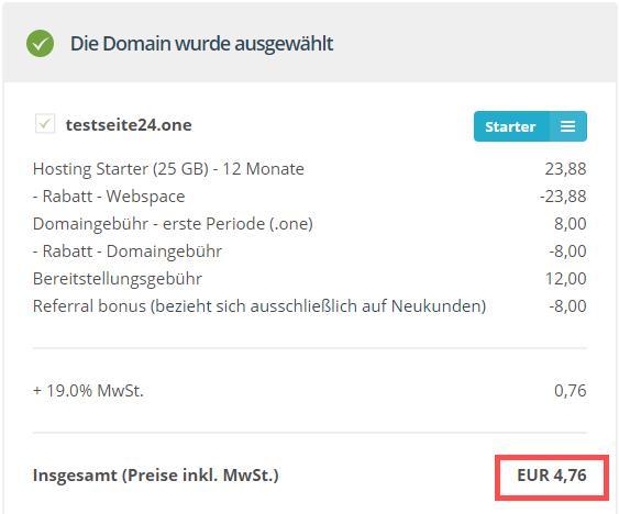 "One.com ""Domain Kosten"""